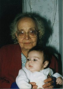 Two favorite video subjects: Nonna and my infant daughter, 1995. Forever young.
